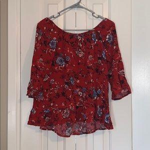 Red Off-The-Shoulder Shirt